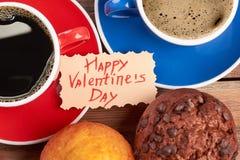 De Dagkaart en koffie van Valentine ` s Stock Afbeeldingen