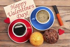 De Dagkaart en muffins van Valentine ` s Royalty-vrije Stock Fotografie