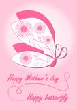 De dagkaart van de gelukkige moeder met vlinder in roze ontwerp Royalty-vrije Stock Fotografie