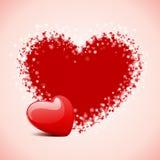 De dagkaart van de valentijnskaart met hart Stock Fotografie