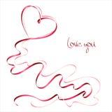 De dagkaart van de valentijnskaart met lint Stock Fotografie