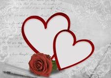 De dagkaart van de valentijnskaart met rozen Royalty-vrije Stock Afbeeldingen
