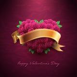 De dagkaart van de valentijnskaart met rozen Stock Fotografie