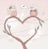 De dagkaart van de valentijnskaart \ 's. Leuke vogel in liefde. Stock Afbeeldingen
