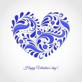 De Dagkaart van gelukkig Valentine met blauw hart Stock Afbeeldingen
