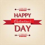 De Dagkaart van gelukkig Valentine met ornamenten, harten en pijlen Royalty-vrije Stock Foto
