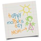 De Dagkaart van kind hand-drawn Moeders Stock Afbeelding