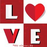 De dagkaart van LIEFDE Gelukkige Valentijnskaarten, Doopvonttype Stock Afbeeldingen