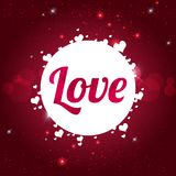 De dagkaart van LIEFDE Gelukkige Valentine ` s op glanzende rode achtergrond met harten Stock Fotografie
