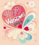 De Dagkaart van Retro Uitstekend kalligrafisch decoratief kleurrijk Valentine Stock Afbeeldingen