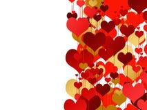 De dagkaart van Valenitne met harten Stock Foto's