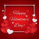 De dagkaart van de valentijnskaart `s met harten Stock Fotografie