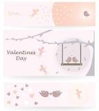 De dagkaart van Valentine met cupidoengelen en vogels vector illustratie