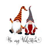 De dagkaart van Valentine met gnomenpaar in liefde stock illustratie