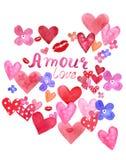 De de dagkaart van Valentine met hand schilderde rode en roze harten en hand van letters voorziende teksten Romantische waterverf stock illustratie