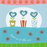 De dagkaart van Valentine met hartenbloem Royalty-vrije Stock Fotografie