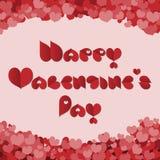 De dagkaart van Valentine met rode hartdoopvont die wordt gemaakt Royalty-vrije Stock Foto