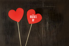 De Dagkaart van Valentine ` s met document harten op stokken Royalty-vrije Stock Foto