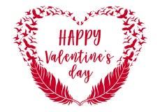 De dagkaart van Valentine ` s, veren met vogels, vector Stock Fotografie