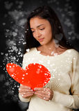 De Dagkaart van Valentine van de meisjeslezing Royalty-vrije Stock Afbeeldingen