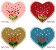 De dagkaarten van de valentijnskaart. Stock Afbeeldingen