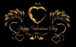 De dagkader van hart gelukkig valentijnskaarten Stock Afbeelding