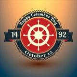 De dagkenteken van Columbus met de symbolen van de V.S. EPS10 vectorillustratie Stock Foto's