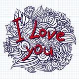 De dagkrabbel van Hand-drawn valentijnskaart Stock Foto
