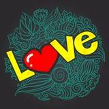 De dagkrabbel van Hand-drawn valentijnskaart Stock Fotografie