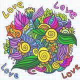 De dagkrabbel van Hand-drawn valentijnskaart Stock Afbeeldingen