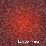 De dagkrabbel van Hand-drawn valentijnskaart Stock Afbeelding