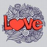 De dagkrabbel van Hand-drawn valentijnskaart Royalty-vrije Stock Afbeelding