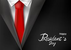 De dagontwerp van de voorzitter van kostuum met rode stropdas vectorillustratie stock illustratie