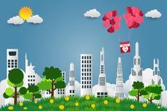 De dagparaplu van Valentine ` s met stoelballons in een gevormd hart het vliegen over de achtergrond van de grasmening, document  stock illustratie