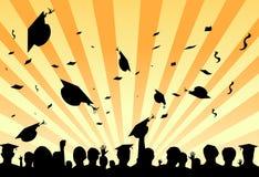 De dagpartij van de graduatie door studenten Stock Foto's