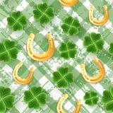De Dagpatroon van San Patrick van realistische Klaverbladeren Het groene behang van het Klavergras Vreugdebloem voor Iers bierfes stock illustratie
