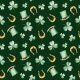 De Dagpatroon van waterverfheilige Patrick ` s met hoef en hoed Het ornament van de klaver Voor ontwerp, druk of achtergrond Stock Foto