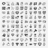 De Dagpictogram van krabbelvalentijnskaarten Royalty-vrije Stock Afbeeldingen