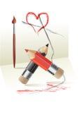 De dagprentbriefkaar van de valentijnskaart Stock Fotografie