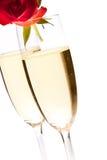 De dagrozen van de valentijnskaart en geïsoleerde champagnewijn Royalty-vrije Stock Foto's