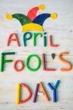 De Dagtekst van April Fools ` met plasticine wordt gemaakt die Royalty-vrije Stock Foto