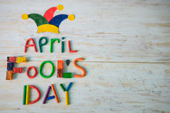 De Dagtekst van April Fools ` met plasticine wordt gemaakt die Royalty-vrije Stock Afbeeldingen