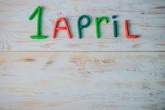 De Dagtekst van April Fools ` met plasticine wordt gemaakt die Stock Afbeeldingen