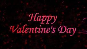 De Dagtekst van gelukkig Valentine die van stof en draaien aan stof horizontaal op donkere achtergrond wordt gevormd stock footage