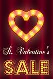 De Dagverkoop van Valentine, t met gloeilampen royalty-vrije stock afbeeldingen