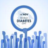 De de Dagvoorlichting van de werelddiabetes met blauw van de de handcirkel van de Handgreep blauw de ringsteken en de Handen onde royalty-vrije illustratie