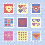 De Dagzegels van gelukkig Valentine Stock Foto