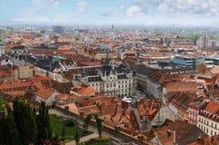 De daken en het Stadhuis van Graz Stock Afbeelding