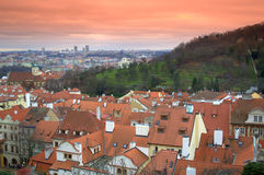 De daken van Praag Stock Foto