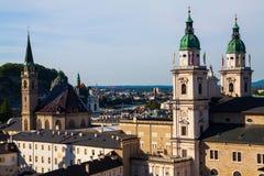 De daken van Salzburg Stock Afbeeldingen